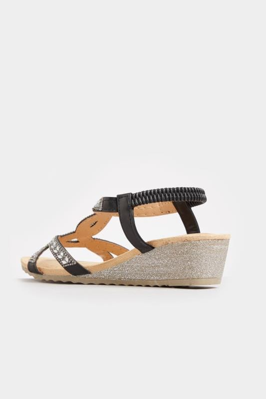 Black Diamante Twist Wedge Sandals In Extra Wide Fit