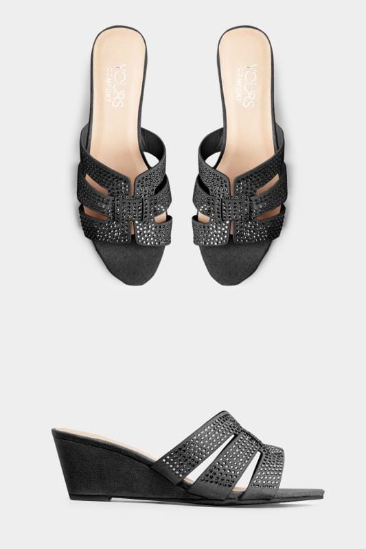 Wide Fit Wedges Black Diamante Wedge Mules In Extra Wide Fit