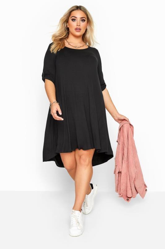 Plus Size Black Dresses Black Dipped Hem Swing Dress