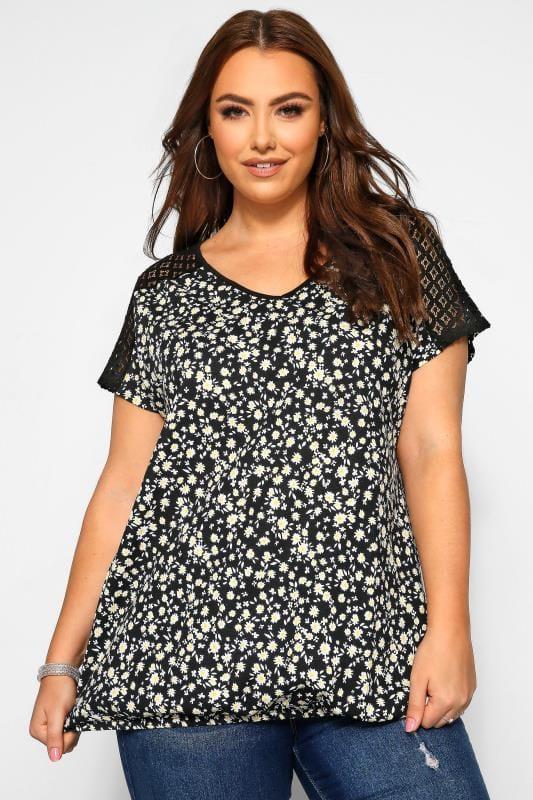 Plus Size Jersey Tops Black Ditsy Crochet Lace Bubble Hem Top