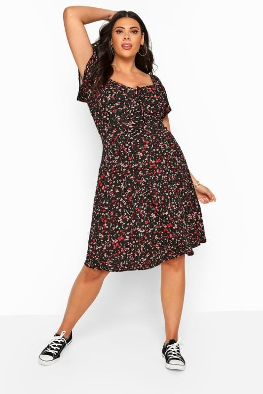 Black Ditsy Floral Bardot Dress