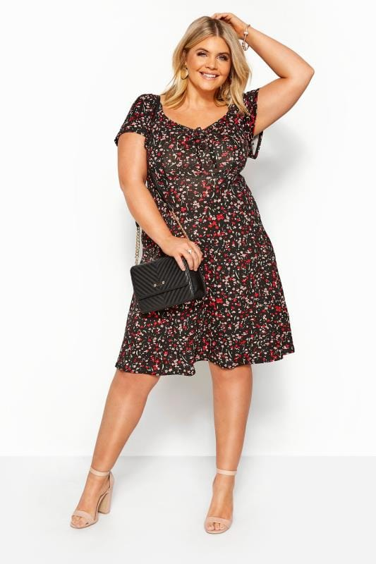 Casual Dresses Tallas Grandes Black Ditsy Floral Bardot Dress