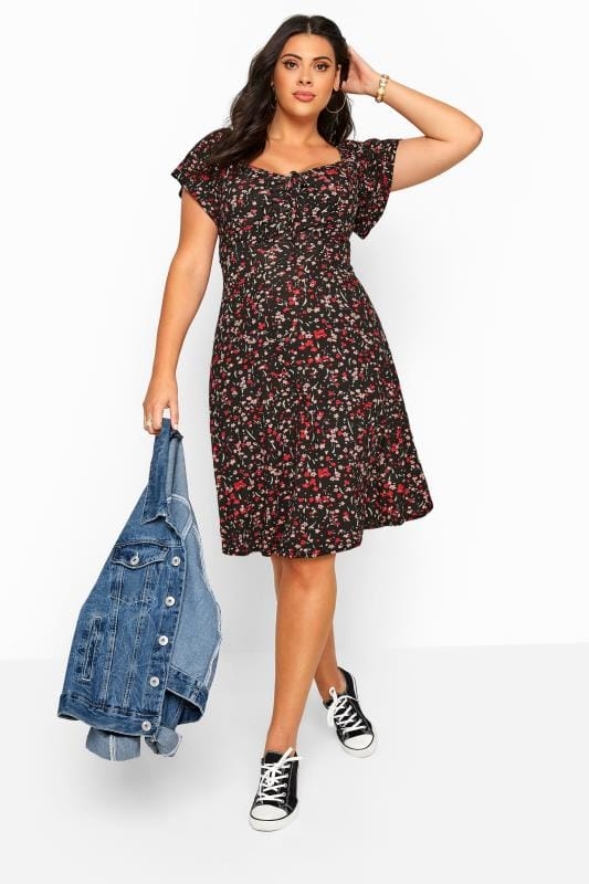 Plus Size Casual Dresses Black Ditsy Floral Bardot Dress