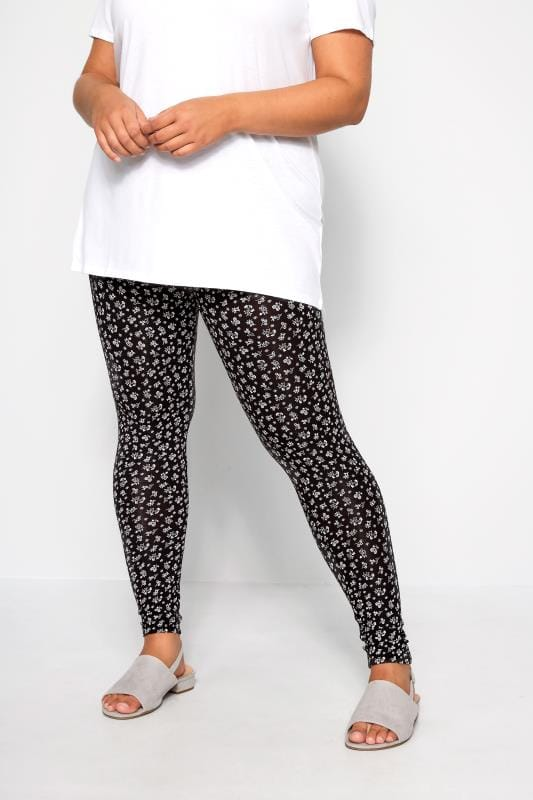 Plus Size Fashion Leggings Black Ditsy Floral Leggings
