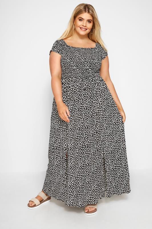 Black Ditsy Floral Maxi Dress