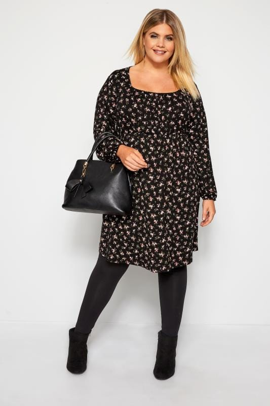 Plus Size Floral Dresses Black Ditsy Floral Print Milkmaid Dress