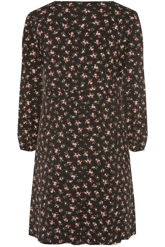 Black Ditsy Floral Print Milkmaid Dress