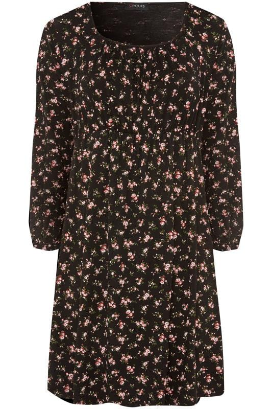 Plus Size Floral Dresses Black Ditsy Floral Print Milkmaid Tunic Dress