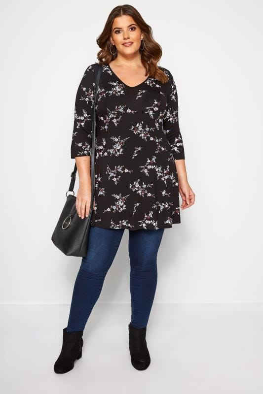 Black Ditsy Floral Swing Jersey Top