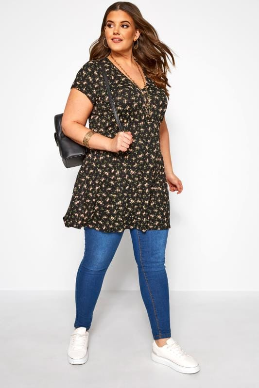 Black Ditsy Floral Swing Tunic