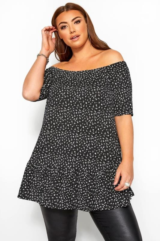Plus Size Jersey Tops Black Ditsy Off The Shoulder Smock Top