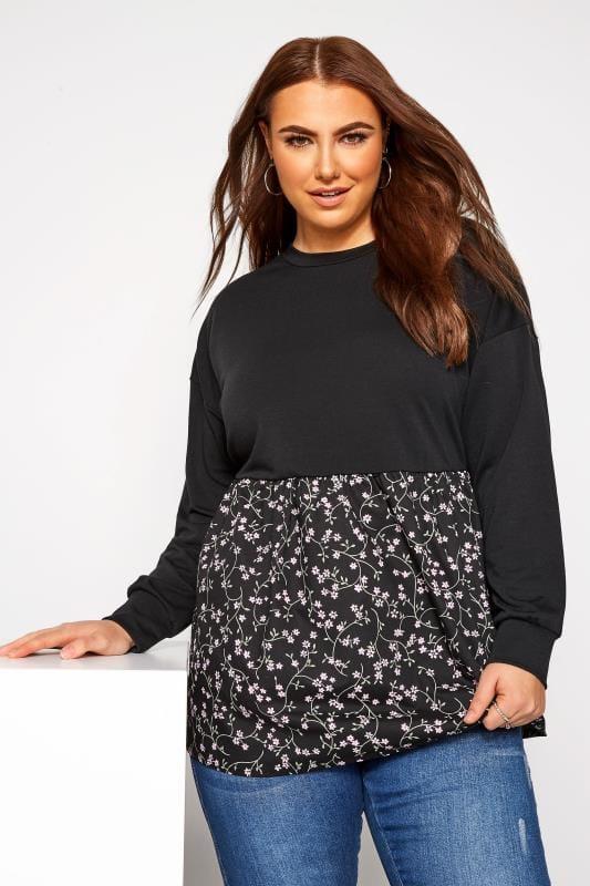 Plus-Größen Sweatshirts Blümchen-Sweatshirt mit Schößchen - Schwarz