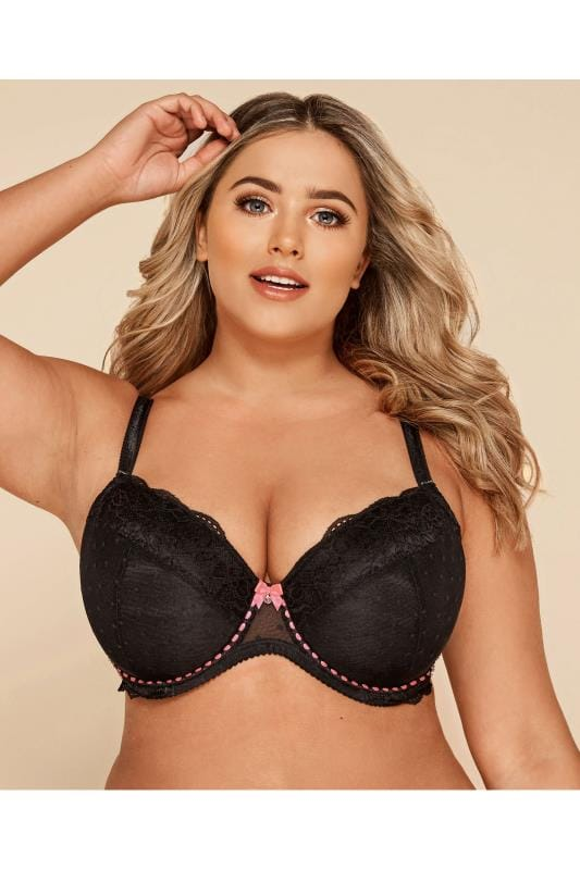 Plus Size Underwired Bras Black Dotty Mesh & Pink Ribbon Bra