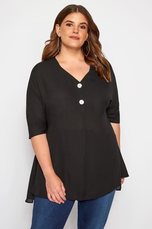 Plus Size Chiffon Blouses Black Double Button Chiffon Blouse