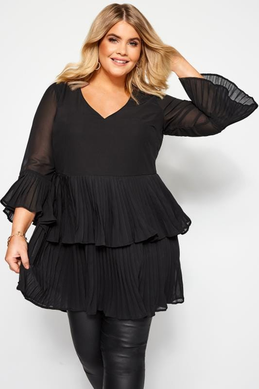 Plus Size Blouses Black Double Layer Pleated Blouse