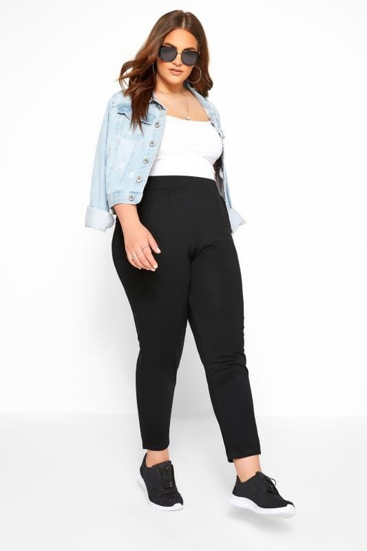 Black Double Pleat Jersey Harem Trousers