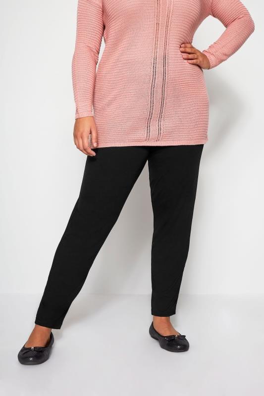 Plus Size Harem Pants Black Double Pleat Jersey Harem Trousers