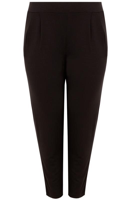 Black Double Pleat Jersey Harem Trousers