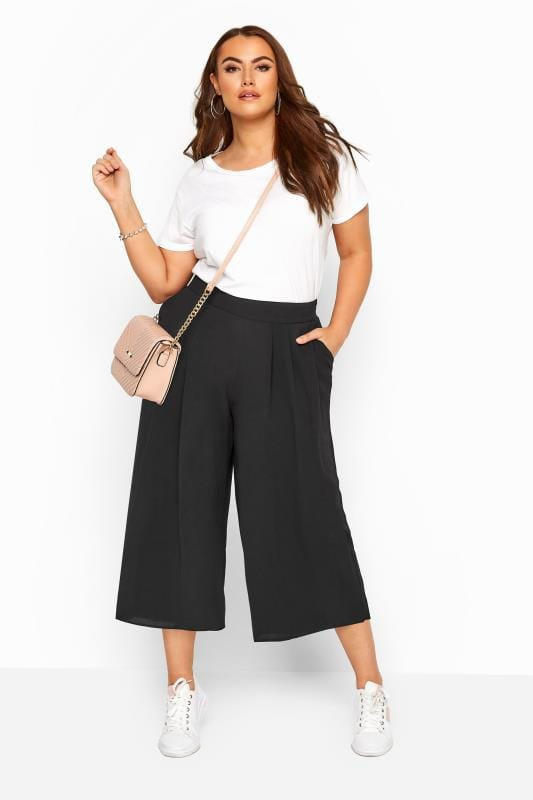 Plus Size Culottes Black Double Pleated Culottes