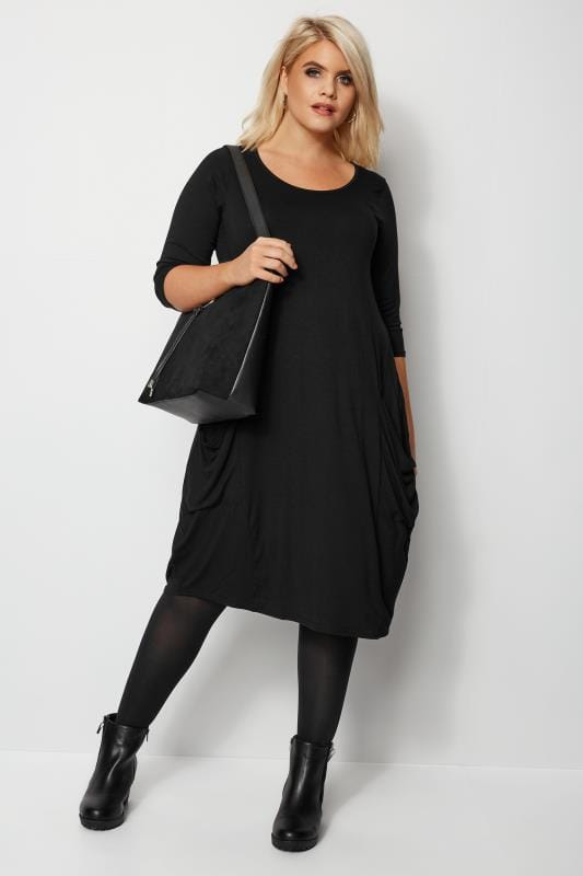 Plus Size Swing Dresses Black Drape Pocket Dress