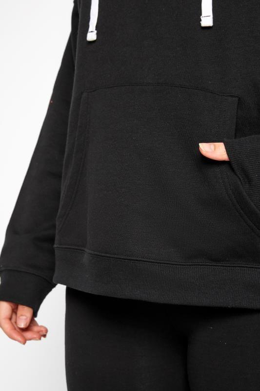 Hoodie mit Durchzugskordel - Schwarz