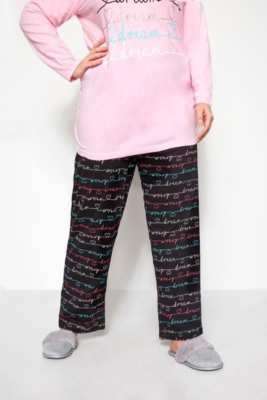 Plus Size Pyjamas Black Dream Stripe Pyjama Bottoms
