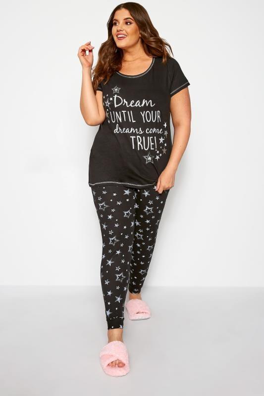 """Pijamas Tallas Grandes Pijama negro algodón """"Dreams come true"""""""