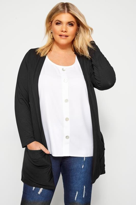 Plus Size Cardigans Black Drop Pocket Cardigan