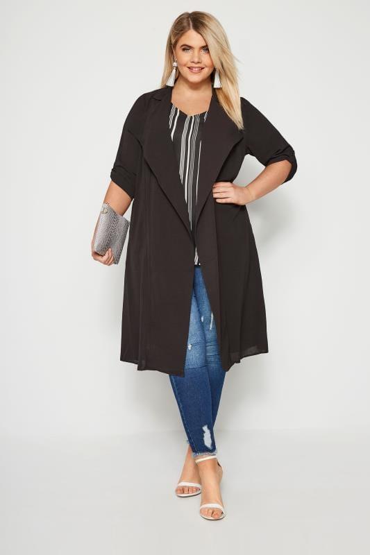 Plus Size Jackets Black Duster Jacket