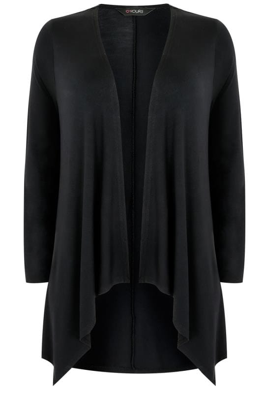 Black Edge To Edge Waterfall Jersey Cardigan