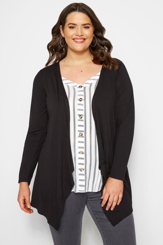 Plus Size Cardigans Black Edge To Edge Waterfall Jersey Cardigan