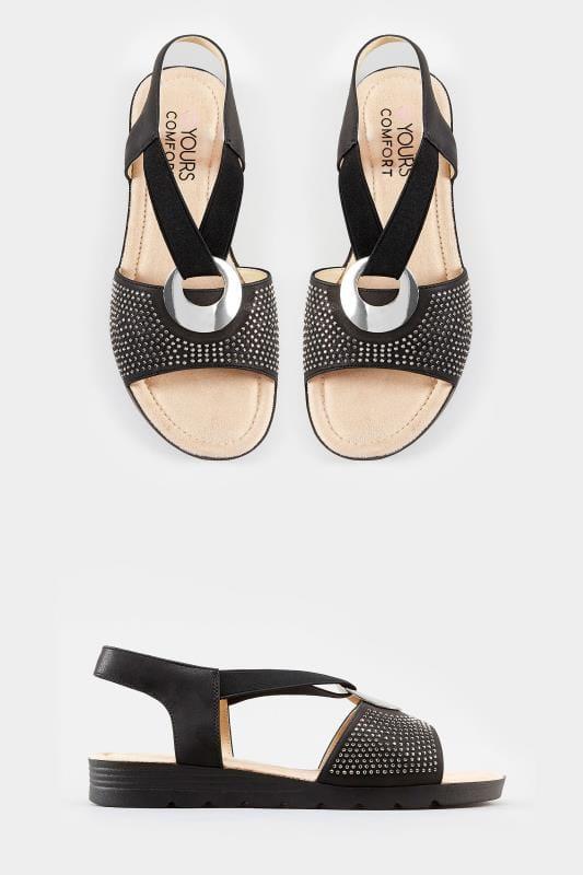 Black Elastic Diamante Sandals In Extra Wide Fit