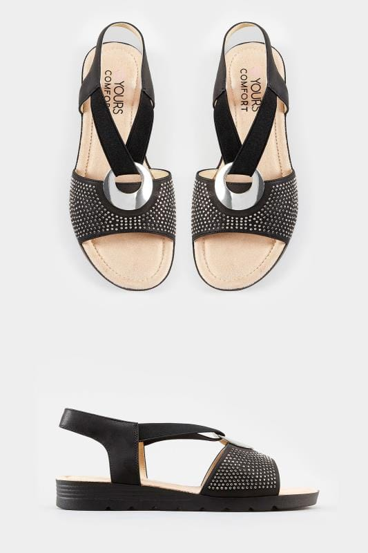 Black Elastic Diamante Sandals In Extra Wide Fit
