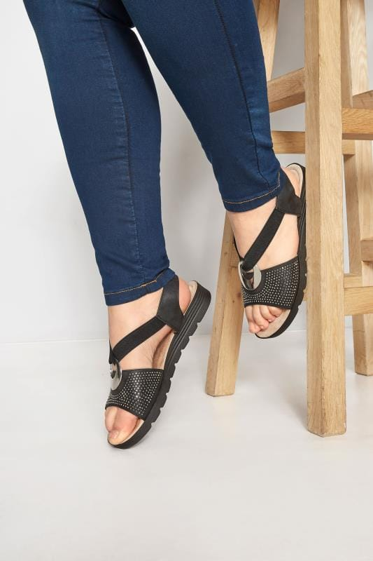 Wide Fit Sandals Black Elastic Diamante Sandals In Extra Wide Fit