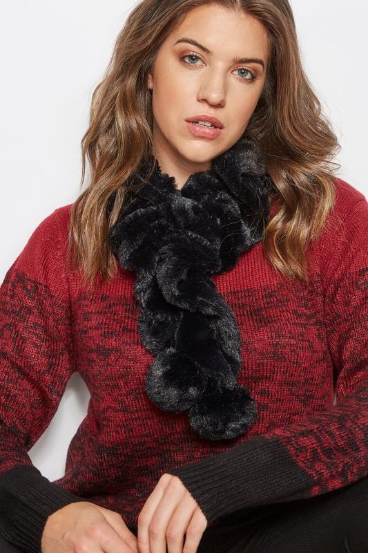 Black Elasticated Faux Fur Scarf