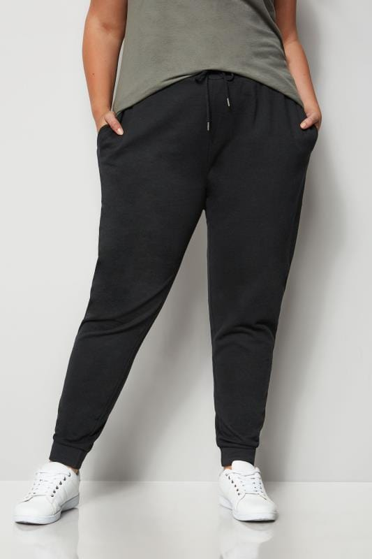 Plus Size Joggers Black Elasticated Joggers