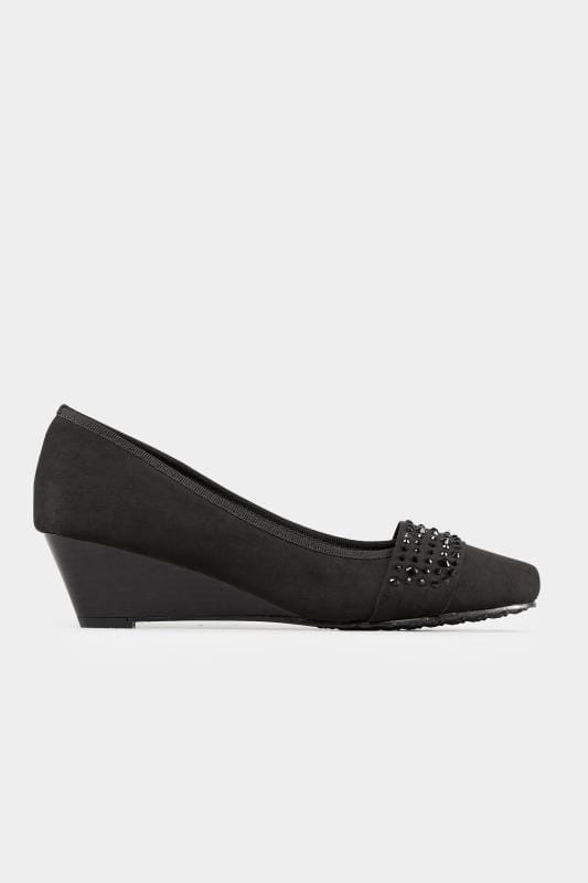 Black Embellished Court Shoes In Extra Wide Fit