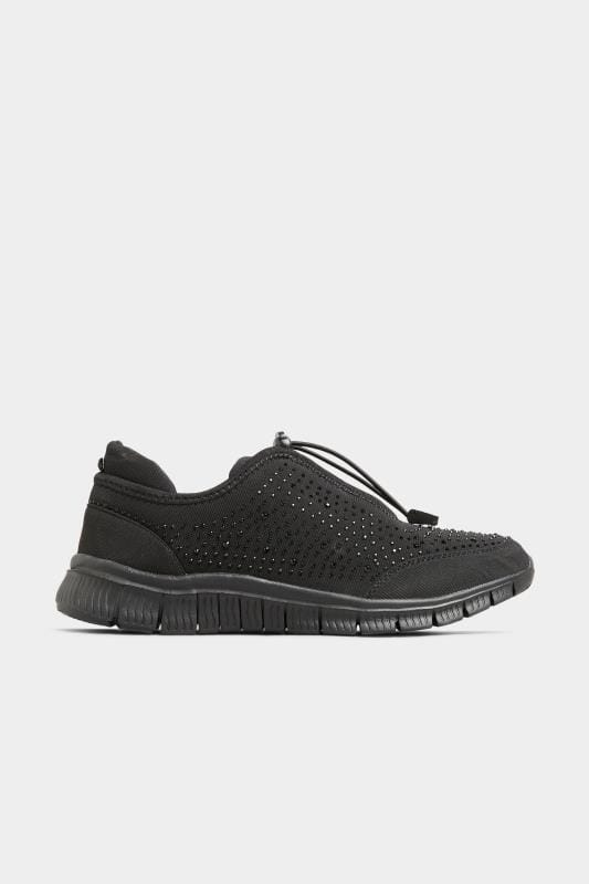 Black Embellished Drawcord Trainers In Extra Wide Fit