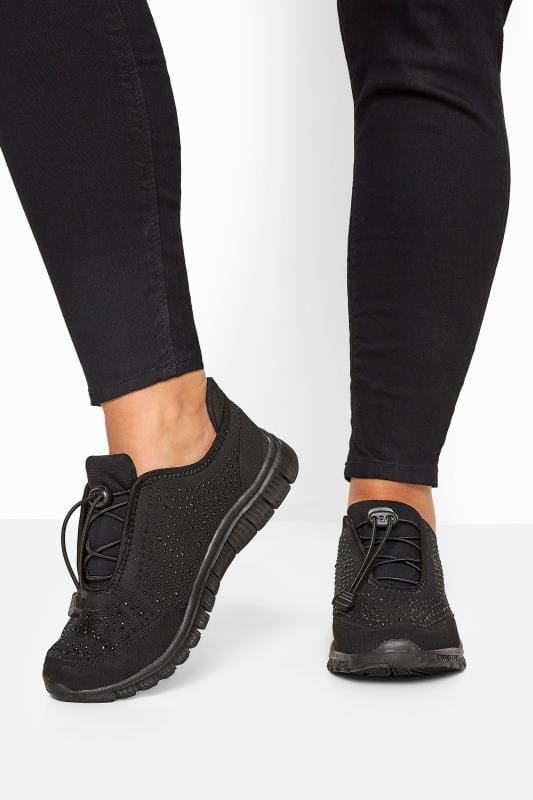 Wide Fit Trainers Black Embellished Drawcord Trainers In Extra Wide Fit