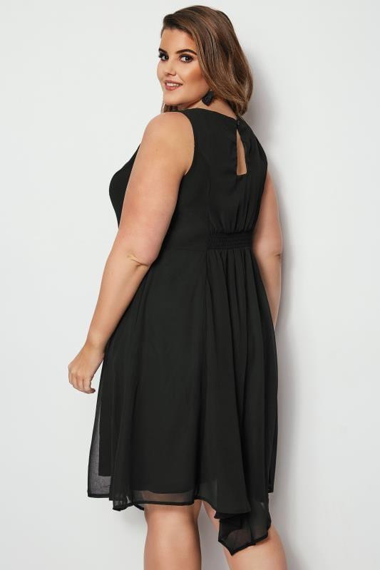 Black Embellished Fit & Flare Skater Dress, Plus size 16 to
