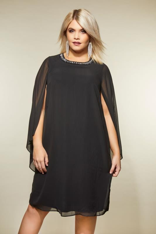 Black Embellished Swing Dress With Wide Split Sleeves