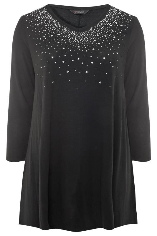 Black Embellished Swing Top