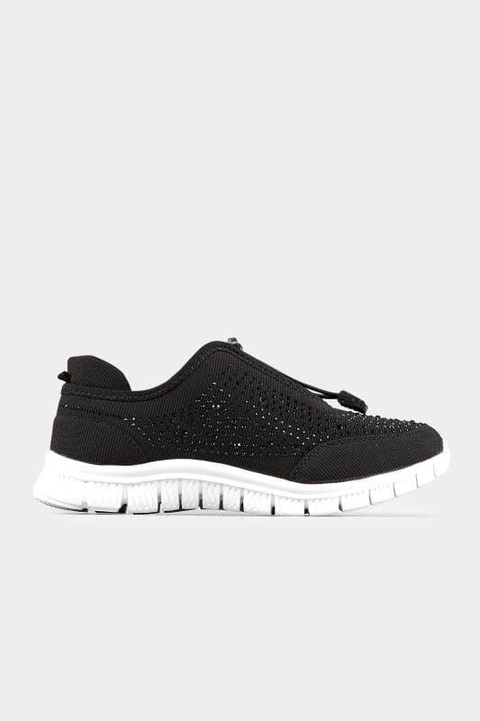 Black Embellished Trainers In Extra Wide Fit