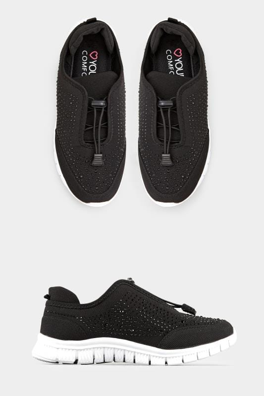 Yours Black Embellished Trainers In Extra Wide Fit