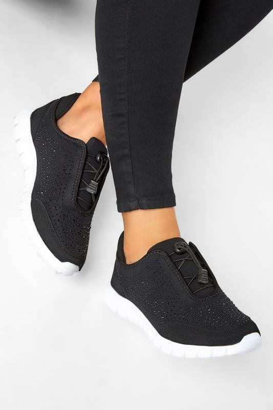 Wide Fit Trainers Black Embellished Trainers In Extra Wide Fit