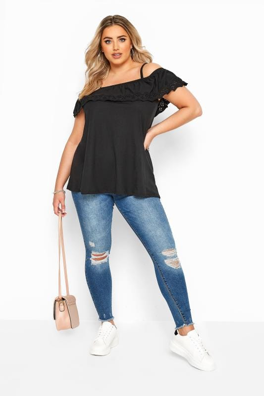 Black Broderie Anglaise Frill Cold Shoulder Top