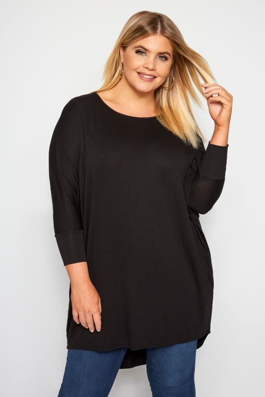 Plus Size Dipped Hem Tops Black Extreme Dipped Hem Top