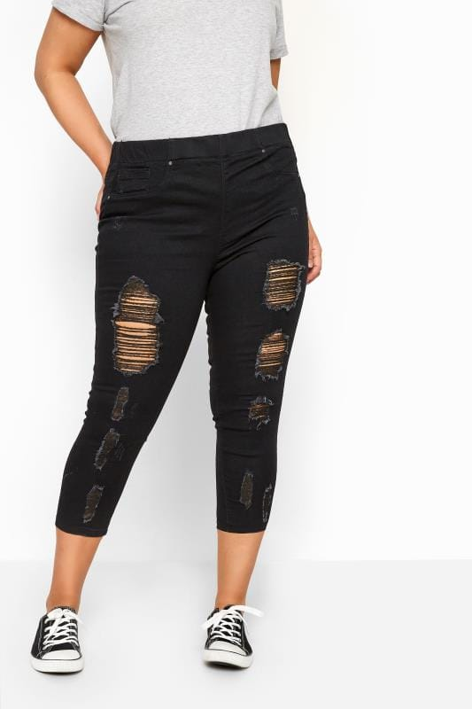 Plus Size Denim Crops Black Extreme Distressed Cropped JENNY Jeggings