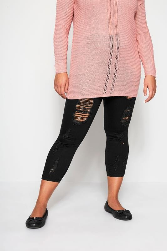 Denim Crops Grande Taille Black Extreme Distressed Cropped JENNY Jeggings