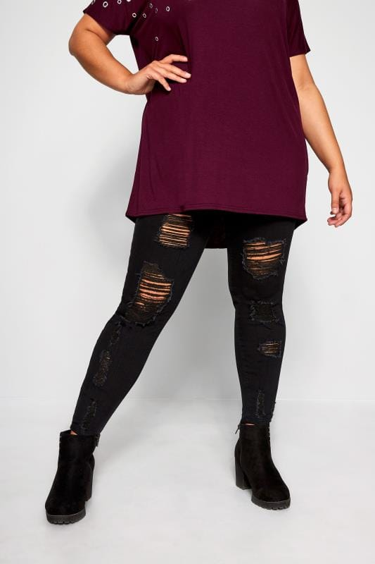 Black Extreme Distressed JENNY Jeggings